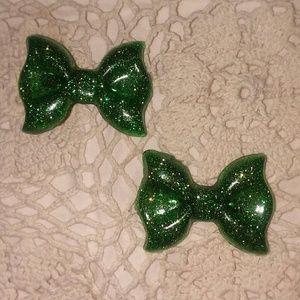 Kawaii Resin Glitter bow Hair Clips